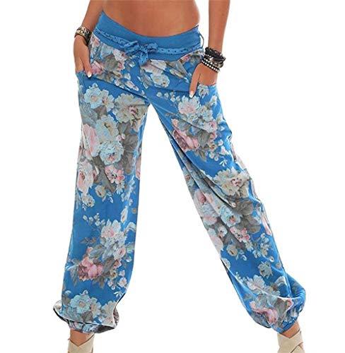 Stretch Casual Pant (Tomatoa Damen Jogginhose Pumphose Frauen Hosen Blumenmuster Lange Hose Sommerhose Hosen Elegante Sommer Pants Casual Yogahose Beinhosen Freizeithose S - 5XL)