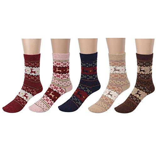 LHZY 5 Pack Womens Girls Chaussettes en mousseline de soie moussante en laine de coton chaud et hiver, conception mignonne de cerf de Noël, chaussettes d'équipage sur la cheville