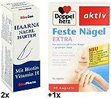2x 10ml Haarna Nagelhärter + 1x 30 Kapseln Doppelherz Feste Nägel Extra. Zur Beseitigung von Nagelschäden und Förderung des gesunden Nagelwachstums. Zur Erhaltung fester Nägel.