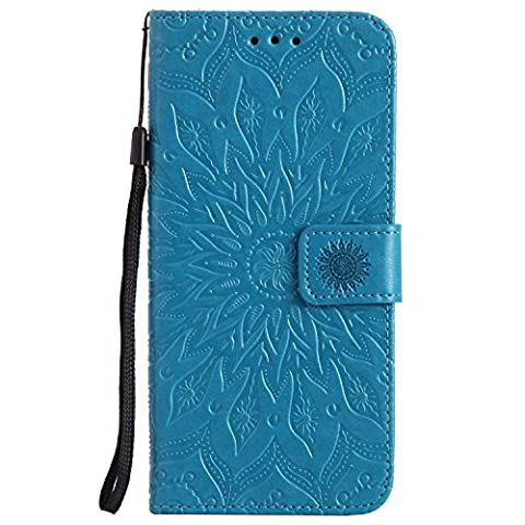 Mokyo Folio Leather Wallet Case for Samsung Galaxy S8 Plus [Free Stylus Pen] Premium Soft PU Leather Wallet Case Embossed Sunflower Mandala Floral Design with [Card Slots][Stand Function][Magnetic Closure] Detachable Hand Strap Slim Flip Protective Book Style Skin Cover Shell for Samsung Galaxy S8 Plus - Blue