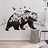 Pegatina pared oso fondo montañas para dormitorios salon clinicas veterinarias residencias caninas de OPEN BUY