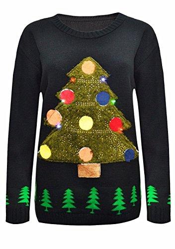 Janisramone De Las Mujeres De Los Hombres Mujer Unisexo Hombres Árbol De Navidad Encender Rudolph Novedad LED Jumper Suéter