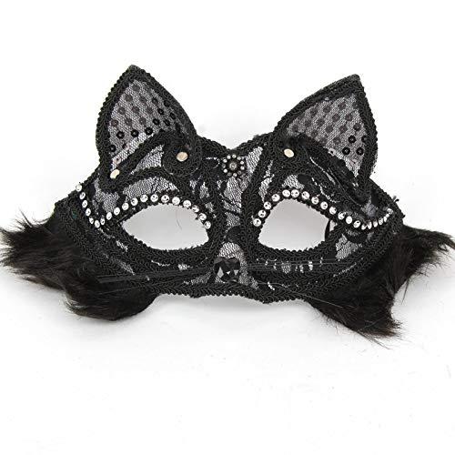 Jugendliche Cat Für Kostüm Black - Huacat Halloween Maske Maskerade Frauen Sexy Black Glitter Phantasie Cat Lace Augenmaske Venezianische Maskenball Valentinstag Party