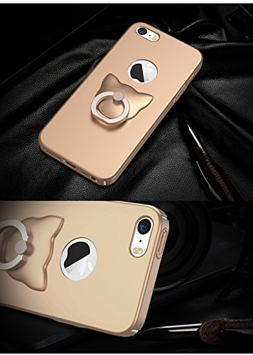 Coque iPhone 5,Coque iPhone 5S,Coque iPhone SE,[Silky]-skin feel,Smooth and supple Case.Dur PC Matière avec [Ultra Mince] [Ultra Léger] Anti-Rayures Anti-dérapante Coque,360° Stand Holder(SJLC3-1) E