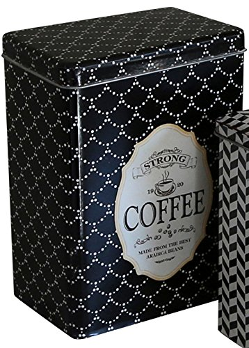 Chic Antique Blechdose mit Stülpdeckel schwarz/creme Coffee Kaffeedose