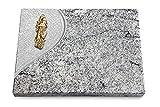 Generic Grabtafel, Grabplatte, Grabstein, Grabkissen, Urnengrabstein, Liegegrabstein Modell Folio 40 x 30 x 3-4 cm Viskont-White-Granit, Poliert inkl. Gravur (Bronze-Ornament Maria)