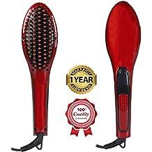 Besmall Plancha de pelo de Cepillo Hair Straightener Brush Mejor para la Belleza que Labra 3 en 1 Profesional 40W digital eléctrico Alisador de Peine Productos para el Cuidado Salón Hermoso Color Rojo