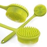 Liyoung Zurück Scrubber,Rutschfeste Langhändige Silikon Körperbürste,Doppelseitige Scheuerbürste (Grüner Griff)