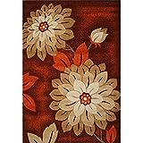 Teppich Rechteckige Blumen Schlafzimmer Wohnzimmer Weiche Rutschfeste Orange Teppich/Matte / Teppich (größe : 133 * 190cm)