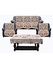 Kuber Industries Flowers Cotton 5 Seater Sofa Cover with Center Table Cover