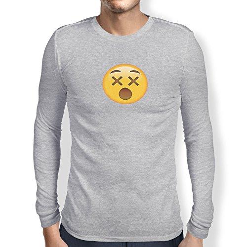 TEXLAB - Dizzy Face Emoji - Herren Langarm T-Shirt Grau Meliert
