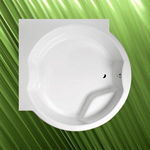 Badewanne Rundwanne mit Ecke ROYAL 173x173cm Durchmesser Acryl in weiß, mit Sifon und Rahmengestell
