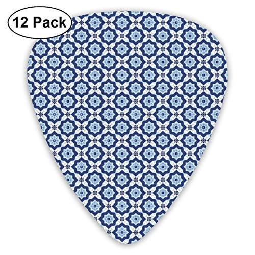 Rock Tile (Guitar Picks - Abstract Art Colorful Designs,Azulejo Tile Pattern Diagonal Ceramic Pattern Arabesque Star Design Ornament,Unique Guitar Gift,For Bass Electric & Acoustic Guitars-12 Pack)