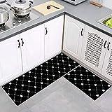 2 Stück Küchenteppiche Waschbar Teppich Küchenmatte Pattern Teppichläufer Rutschfeste Fußmatte Ölbeweismatte Matte für Esszimmer Schlafzimmer 40 x 60 cm + 40 x 120 cm,Star