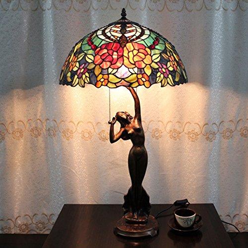 Tiffany Lampada da tavolo europeo Rose 16 pollici Vintage Pastorale lusso Desk Lamp Lampada da comodino