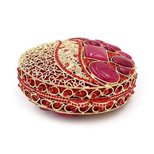 Il Pacchetto Di Banchetto Del Diamante Del Sacchetto Di Sera Di Diamante Di Lusso Delle Donne Red