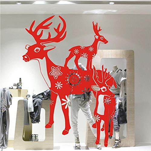 Red New Weihnachtsschmuck Für Home Deers Wandaufkleber Für Kinderzimmer Abnehmbare Aufkleber Fenster Weihnachten Home Decorations Zubehör 80 * 58 cm