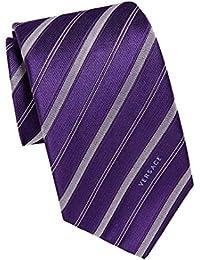 Versace Men Striped Woven Silk Necktie