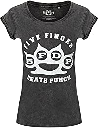 Five Finger Death Punch Knuckle Duster' Acid Wash Womens T-Shirt