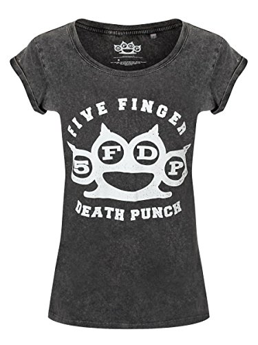 T-shirt Five Finger Death Punch Knuckleduster 5FDP acid wash da donna in nero