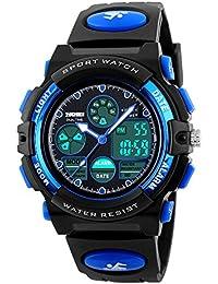 Uhren, Kinderuhren Jungen wasserdicht Jugendliche Digital im freien Sportuhr Multifunktions elektronische Digitaluhr mit LED-Licht Alarm und Kalender Datum (blau)