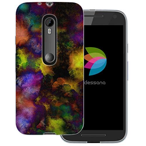 dessana Abstrakt Pattern Transparente Schutzhülle Handy Case Cover Tasche für Motorola Moto G3 Farbflecken (Handy Cover Für G3)