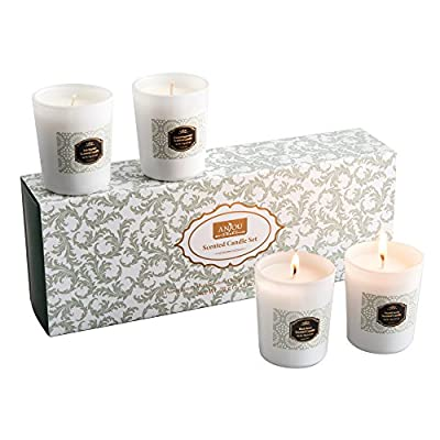 Scented Candles 4 Pack Anjou Aroma Candles Gift Set, Includes Pear and Freesia, Blackberry and Bay, Orange and Peppermint, and Soft Blanket Scents - 20 Hours Burn Time Per Cup by Anjou