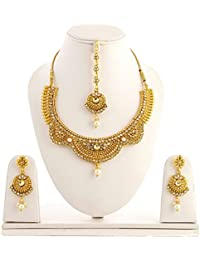 Zcarina Gold Plated Kundan Pearl Choker Necklace With Earrings Set For Women