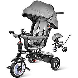 besrey Tricycle Bébé Evolutif 7 en 1 Vélo Enfant Garçon Fille Réversible Multifonctionnel, Roues en Caoutchouc Silencieux, 7 Mois - 6 Ans