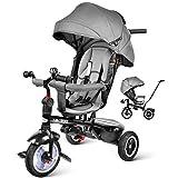 besrey Dreirad Kinderwagen Jogger 7-in-1 Kinder Fahrrad mit 360° Drehsitz + Luftkammerrad + Liegefunktion ab 10 Monate bis 6 Jahre + Regenschutz