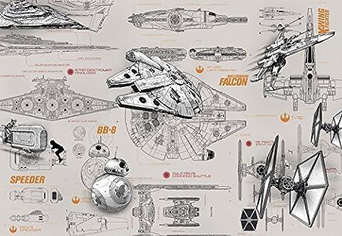 Star Wars Blueprints–Disney–Wall Paper–Papier Peint Photo Mural 368x 254cm–8pièces. clos sont une Contenu du Colle et une klebea nleitung.