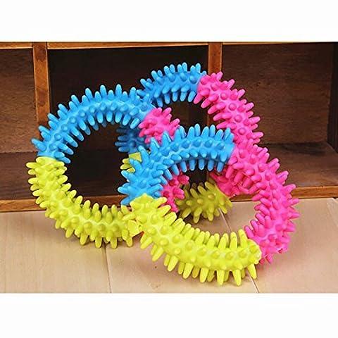 Pet Hund Gummi Thorn Ring Zähne kauen Training Fetch Toys Dental Play Funny Kreis ungiftig Farbe zufällige