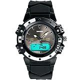 E-futuro de estilo informal militares y el espaciado de silicona de color negro con pantalla LCD LED Digital analógico reloj de deporte de los hombres