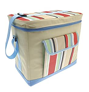 Country Club Jumbo Cooler Bag, Cream & Multi Stripe, Blue 36x22x32cm by Online Kitchenware
