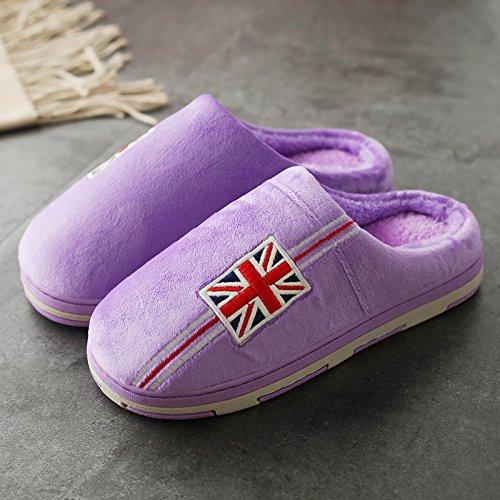 DogHaccd pantofole,Paio di pantofole di cotone gli uomini e le donne spesso al coperto, antiscivolo Autunno Inverno home soggiorno con un grazioso scarpe eleganti La porpora1