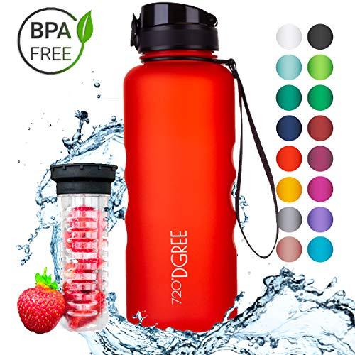 720°DGREE Trinkflasche uberBottle - 1,5 Liter, 1500ml, Rot, Orange | Neuartige Tritan Wasser-Flasche | Water Bottle BPA Frei | Ideale Sportflasche für Kinder, Fitness, Fahrrad, Sport, Fussball