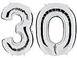 PartyMarty Ballon Zahl 30 in Silber - XXL Riesenzahl 100cm - zum 30. Geburtstag - Party Geschenk Dekoration Folienballon Luftballon Happy Birthday