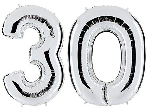 lber - XXL Riesenzahl 100cm - zum 30. Geburtstag - Party Geschenk Dekoration Folienballon Luftballon Happy Birthday - PARTYMARTY (30 Ballon)