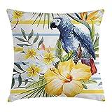 MeiMei2 Kissenbezug, Motiv: Papageien, Orchideen, Hibiskusblüten, Hawaiianisches Dschungelbild, dekorativ, quadratisch, 45,7 x 45,7 cm, Mehrfarbig Vergleich