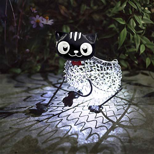 Fertgo Gartenschmuck Smart Outdoor-Dekor Die niedliche Katze Solar Vielseitige Garten Lichtfigur Ornament Stimmungslicht, Garten, Hof, Zuhause,Partys,Fest Deko.