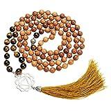 JSDDE Unisex 108Holz Buddha Gebet Perlen W/Chakra Perlen Edelstein Mala Armbänder buddhistischen Rosenkranz Halskette, Tiger Eye–Manipura