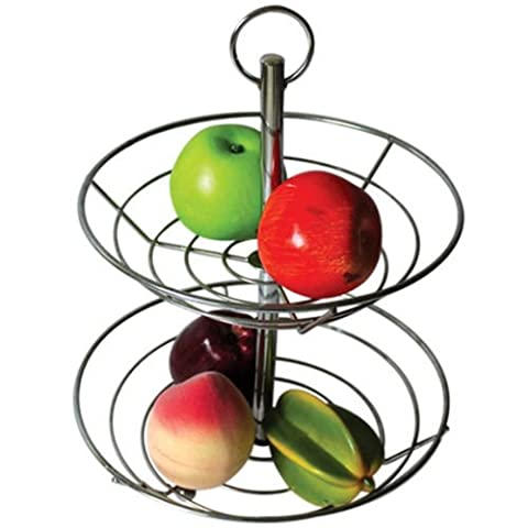 AMOS 2/3 Tier Fruit Vegetable Basket Bowl Steel Wire Rack Stand Storage Holder (Chrome) (2 Tier)