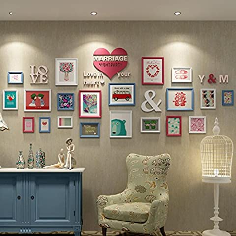 X&L Foto Europea pared pared dormitorio living comedor madera sólida de la foto marco foto marco colgante de pared foto combinación creativa de pared minimalista moderna , 2