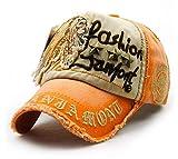 FENGFA Unisex Baseball Kappen Vintage Distressed Cap Washed Denim Baumwoll Basecap (Orange)