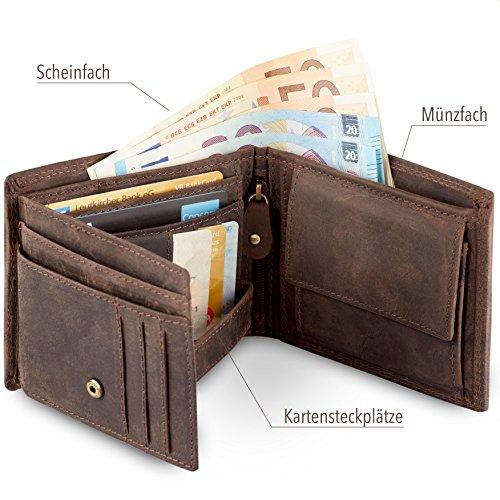 Geldbörse für Herren aus Leder mit 100% Zufriedenheitsgarantie | Geldbeutel / Portemonnaie in Geschenkbox | Geschenke für Männer | Wallet / Portmonee / Brieftasche im Querformat - BRAUN - 2