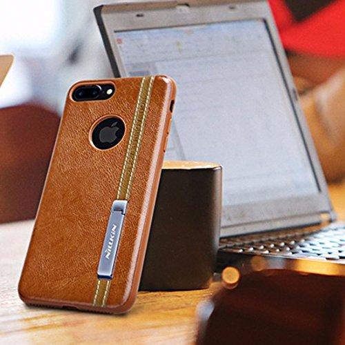 Hülle für iPhone 7 plus , Schutzhülle Für iPhone 7 Plus Business Style Leder Oberfläche PC Schutzhülle Back Cover mit weichen TPU Rahmen & Magnetic Meatl Halter ,hülle für iPhone 7 plus , case for iph Brown