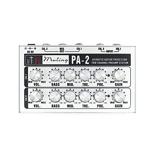 Chitarra Amplificatore operativo a doppio canale Preamplificatore per chitarra acustica Processore a 2 canali Sistema di preamplificazione per chitarra folk acustica Chitarra elettrica Ukulele