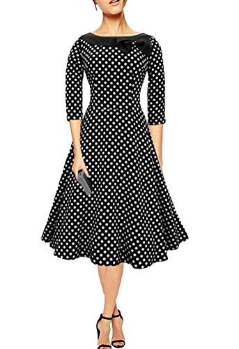 Ghope Rétro Vintage années 50 's Style Audrey Hepburn Rockabilly Swing, Pollka Dots Robe de soirée/Bal avec 3/4 Manches Noir
