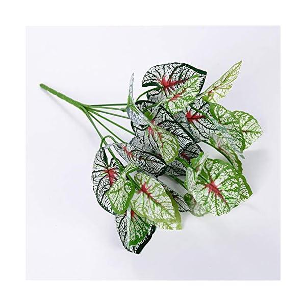 SUXIAO Planta de Begonia Artificial Hojas de plástico Planta de árbol para decoración del hogar, Blanco