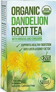 Tè alla Radice di Tarassaco - Digestivo Organico Grezzo Ricco di Vitamine - 1 Confezione (20 bustine da 2 grammi l'una)
